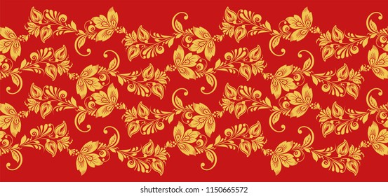 Hohloma seamless pattern fabric texture . Russian traditional decoration in red and gold colors. Classic khokhloma background
