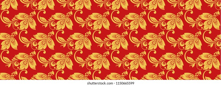 Hohloma seamless pattern, russian classic decor . Khokhloma background decoration in red and gold colors
