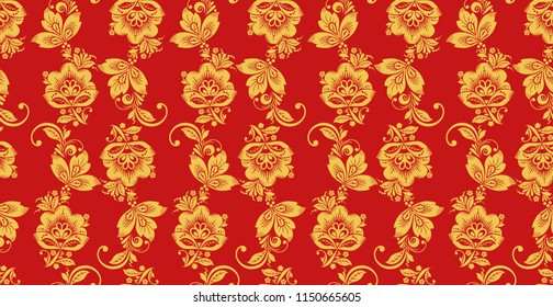Hohloma seamless pattern, russian culture decor . Khokhloma background decoration in red and gold colors