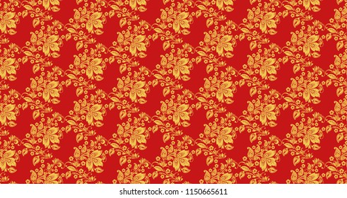 Hohloma seamless pattern texture . Russian traditional decoration in red and gold colors. Khokhloma background