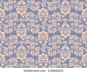 Hohloma style seamless pattern background. Traditional russian flower decoration on flax texture
