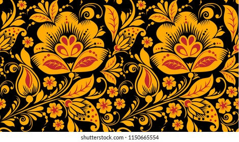 Hohloma style seamless pattern in classic black, red and gold colors. Classic khokhloma, national ornament