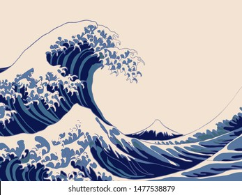 Hokusai's big wave in brush style