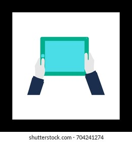 Hold Tablet Colorful icon on white square background. Flat symbol illustration