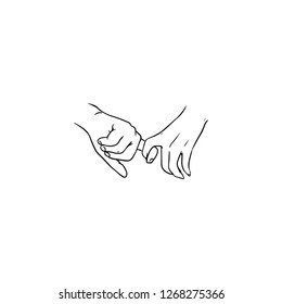 Holding hands hand drawn with contour lines in monochrome colors. Drawing of one-finger handhold isolated on white background. Symbol of love, dating, intimacy and romance. illustration.