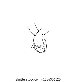 Holding hands with interlocked or intertwined fingers drawn by black lines isolated on white background. Symbol of couple in love, romance, tenderness, dating. Monochrome illustration.