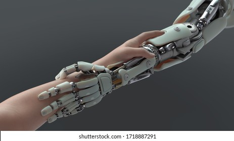 holding hands of a robot and human, 3d illustration