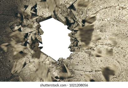 Hole in cement and brick wall.3d illustration.concept of breaking down obstacles.Concept of breaking down obstacles.Crack and explosion