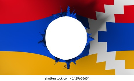 Hole cut in the flag of Nagorno Karabakh, white background, 3d rendering