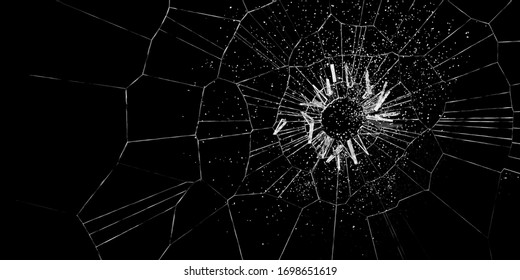 Hole and many cracks in glass after impact against a black background (3D Rendering)