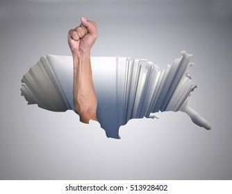 hole with a map of the united states of america and arm with fist, 3d illustration
