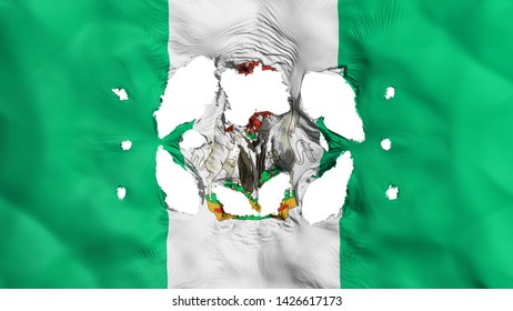 Holes in Abuja, capital of Nigeria flag, white background, 3d rendering