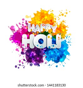 Holi spring festival of colors design element and sign holi