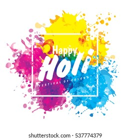 Holi spring festival of colors design element and sign happy holi. Can use for banners, invitations and greeting cards