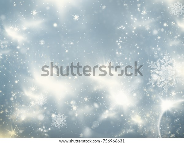 holiday abstract glitter background with blinking stars and falling snowflakes. Blurred bokeh of Christmas lights.
