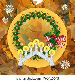 Holiday background with Christmas garland and candlestick. Copy space. Raster clip art.