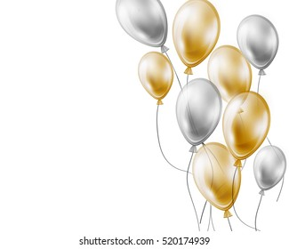 Holiday background with gold and silver air flying balloons on white