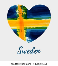 Holiday background with grunge watercolor imitation flag of Sweden  in heart shape. Sweden national day, 6 June. Flag day. Patriotism concept. Template for poster, banner, flyer, invitation, etc.