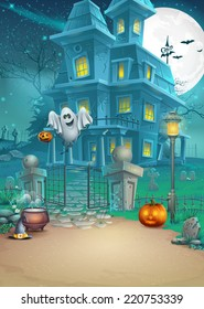 Holiday card with a mysterious Halloween haunted house, scary pumpkins, magic hat and cheerful ghost