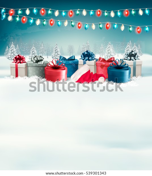 Holiday Christmas Background.Holiday Christmas Background Gift Boxes Garland Stock