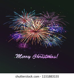 Holiday colourn fireworks on the blue background. Lights for design of festive posters and banners for Merry Christmas. File contains clipping mask. Raster copy