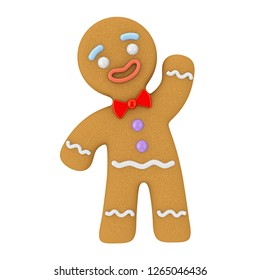 Holiday Decorated Classic Gingerbread Man Cookie on a white background. 3d Rendering