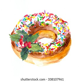 Holiday donut cake with sprinkles topping and christmas mistletoe. Watercolor
