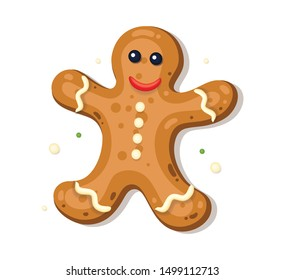 Holiday gingerbread man cookie isolated on white background. Happy new year and christmas decoration.