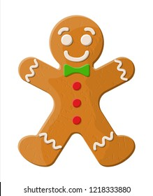 Holiday gingerbread man cookie. Cookie in shape of man with colored icing. Happy new year decoration. Merry christmas holiday. New year and xmas celebration. illustration in flat style