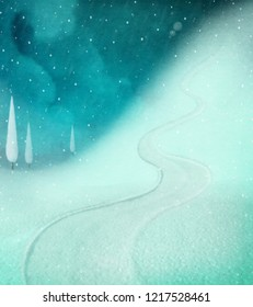 Holiday greeting background for Christmas or new year  with  winter slalom run.