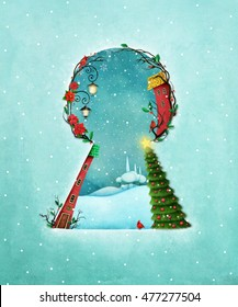Holiday greeting card or poster for Christmas or  New Year with keyhole and  winter landscape