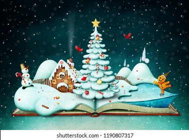 Holiday greeting card or poster with fantasy book and Christmas scene.