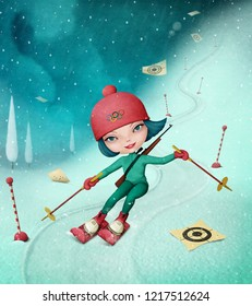 Holiday greeting card or poster with  girl on  slalom ski down  winter mountainside.