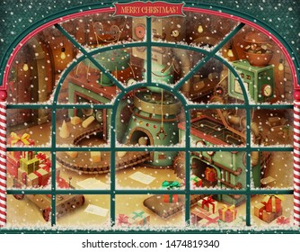 Holiday greeting card or poster with vintage Toy factory for Christmas or New Year. 3D image