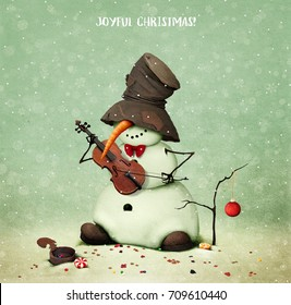Holiday greeting card with snowman playing  violin for  Joyful Christmas