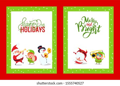 Holiday greeting cards with Santa, Snowman, Elf. raster Merry Christmas postcards with Father Frost singing carols, listening boombox and dancing