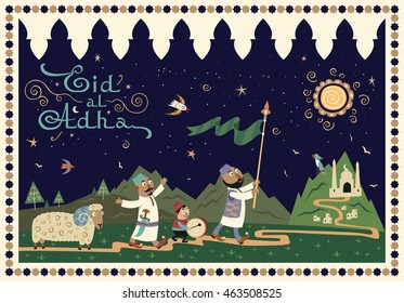 holiday greetings card of handwritten Eid Al Adha label. Composition of celebrating muslims go on the road with beautiful landscape background