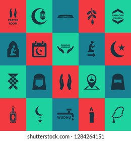 Holiday icons set with calendar, namaz room, wudhu and other fire wax elements. Isolated  illustration holiday icons.
