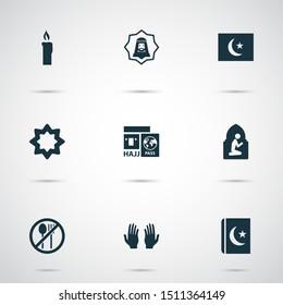 Holiday icons set with hajj, pray, namaz room and other palm elements. Isolated illustration holiday icons.