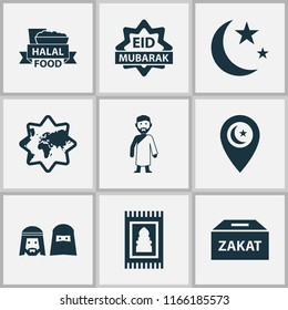 Holiday icons set with halal, people, religion and other money box elements. Isolated  illustration holiday icons.