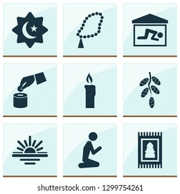 Holiday icons set with maghrib, prayer, candle room  elements. Isolated  illustration holiday icons.