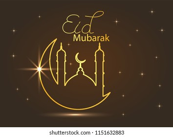 holiday illustration of handwritten Eid Al Adha shiny label. lettering composition of muslim holy month with mosque building