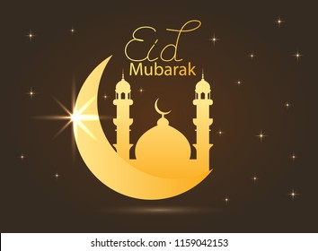 holiday illustration of handwritten Eid Al Adha shiny label. lettering composition of Muslim holy month with mosque building, sparkles and glitters