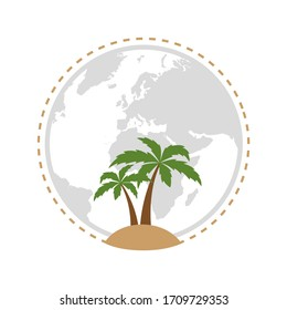 holiday island icon with palm tree isolated on white background illustration
