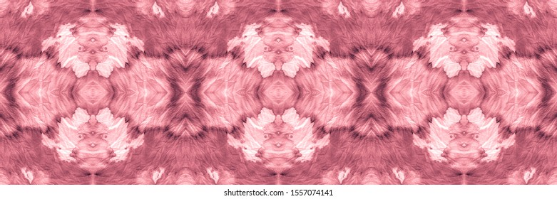 Holiday Magenta, Pink On Old Paper. Space Dye Seamless Print. Decorative Design. Abstract Chintz Stylized Ornament. Tiles Watercolor. Abstract Watercolor Background.