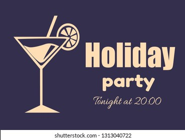 Holiday party invitation poster tonight at 20.00 with martini cocktail, straw and orange slice raster illustration outline silhouette isolated on blue