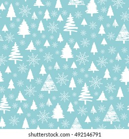 Holiday pattern, Christmas decoration. Forest on a blue background. Snow in the woods. White trees and spruce.