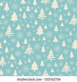 Holiday pattern Christmas decoration. Snow in the woods. White trees and spruce.