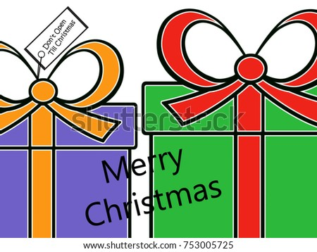 Dont Open Till Christmas.Holiday Presents Dont Open Till Christmas Stock Illustration