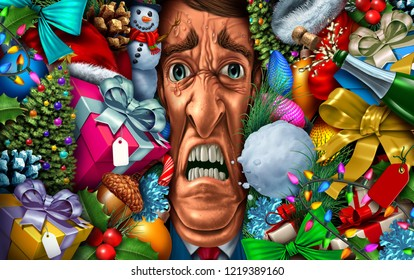 Holiday stress and christmas shopping or feeling overwhelmed in the new year as a psychology concept with 3D illustration elements.